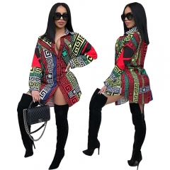 Casual Turndown Collar Printed Long Sleeve Mini T Shirt Dress Lady Women