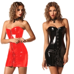 Womens Corset Dress Steampunk Wetlook Faux Leather Vintage Club Halloween Party Bustiers