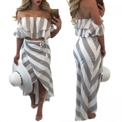 Sexy Ruffle Stripe Chiffon Two Piece Dress Suit Casual Beach Sleeveless Long Summer Dresses Women