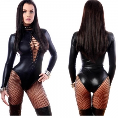 Women's Leather Bodysuit Long Sleeve Lace-up Club Jumpsuit PU Teddy Lingerie