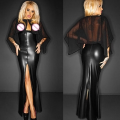Wetlook Leather Mesh Cap Sleeve Split Long Dress